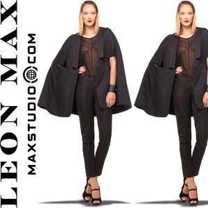 LEON MAX. Limited Edition. Black Tuxedo Cape!